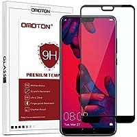 OMOTON Huawei P20 Pro (6.0 Pouces) Film Verre Trempé [Couvir l'écran Complèt] [sans Bulles] Protection- Protecteur Ecran Noir