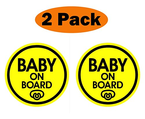 TOTOMO # ALI-031 (2er Set) Baby an Bord Magnet Aufkleber Sicherheit Vorsicht Zeichen für Auto Stoßstange - Baby Schnuller