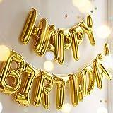 Liyoung Gute zum Geburtstag Ballons Banner, Folienballons, Mylar Brief Ballons für Geburtstagsparty Dekoration (Gold)