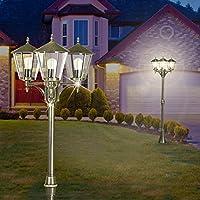 MIA Glas Kugel Poller Leuchte ↥1000mm// Silber// Glas// Edelstahl// AUSSEN Wege Lamp