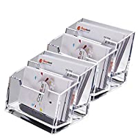 LANSCOERY Clear Acrylic Business Card Case Holder Container Countertop Stand Organizer for Office Table Desktop Storage (2 Tier 2 Pack)