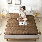 CNZXCO Anti-rutsch Tatami-matratze Geldklammer Gesteppt, Futon Tatami matten schlafen Matratzenauflage Abdeckung Folding-Dunkelbraun 150x200cm(59x79inch)