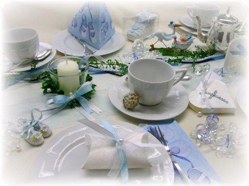 4er SET Kerze Votivglas Kerzenring Hellblau Junge Kommunion Taufe Tischdeko Geburt Kerzendeko - 4