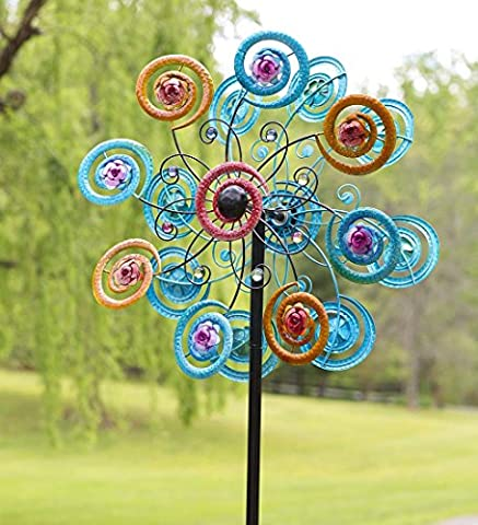 Wind & Weather Jeweled Spiral Flower Metal Wind Spinner -