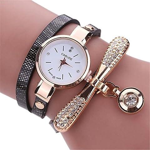 Yuan Women Leather Rhinestone Analog Quartz Wrist Watches Bracelet Jewelry Set (Black)