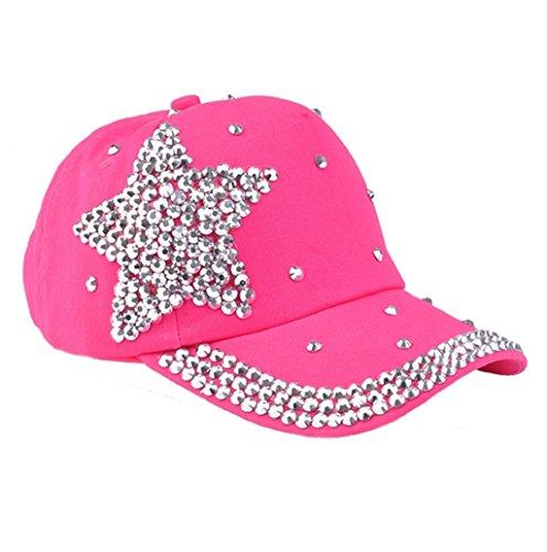 Dairyshop Cappello da baseball di cristallo della stella delle donne degli uomini Donne cappello registrabile dello sport del visiera di Snapback della protezione (Bianco) Rosa rosa