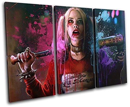 (Bold Bloc Design - Harley Quinn Suicide Squad Movie Greats 150x100cm TREBLE Leinwand Kunstdruck Box gerahmte Bild Wand hangen - handgefertigt In Grossbritannien - gerahmt und bereit zum Aufhangen - Canvas Art Print)
