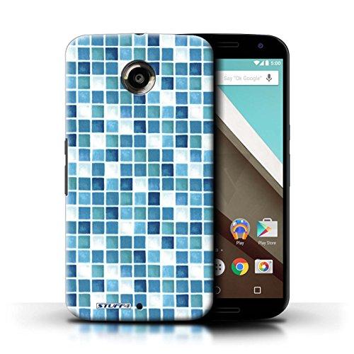 Kobalt® Imprimé Etui / Coque pour Motorola Nexus 6 / Bleu/Blanc conception / Série Carreau Bain Bleu/Turquoise