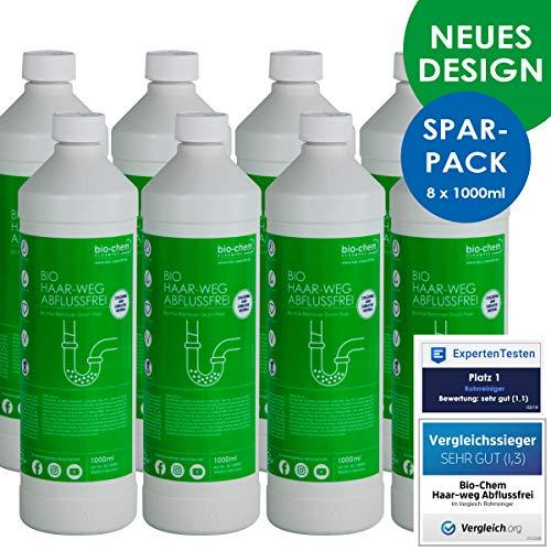 Bio-Chem Haar-Weg Abfluss-Frei Sparpack 8x1000 ml Abflussreiniger Rohrreiniger chlorfrei