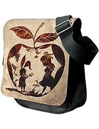 L002029 - Cool Cartoon Alice In Wonderland Scene Apple Eat Me Design Kids Toddler School Bag Backpack Stationery Bag with Pocket