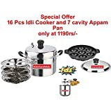 Kitchenwale's Stainless Steel 16 Pcs Idli Cooker With 7 Cavity Appam Pan/Idli Pressure Cookers / 16 Pcs Idli Maker With 7 Cavity Appam Patra/Idli Steamer-Perfect Gift For Woman