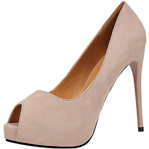 BIGTREE High Heels Arbeit Schuhe Damen Peep Toe Pumps von Platform Hochzeit Kleid Pumps Beige 39 EU - Marine-peep-toe-heels