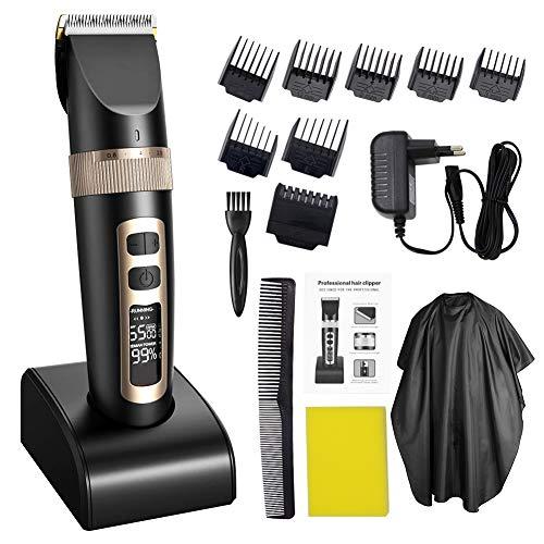 DINNA Profi Haarschneidemaschine Set Schnurlose Haarschneider Bart Rasierer Elektrische Haartrimmer mit Keramik Klinge Wasserdicht Akku LED-Anzeige für Männer und Familie