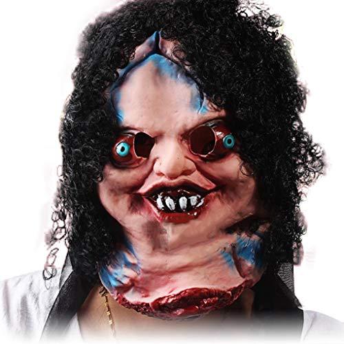 Providethebest Scary Zombie Clown Maske Big Mouth Schwarzes Haar Cosplay volles Gesichts-Horror-Maskerade Erwachsene ()