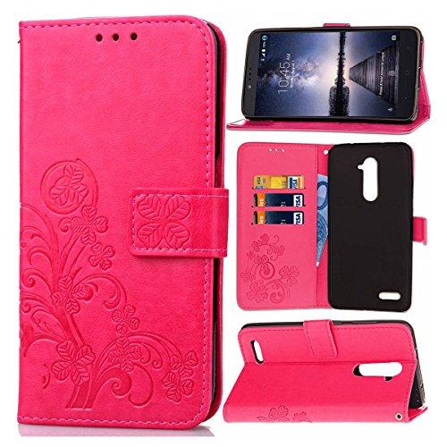 Guran® PU Ledertasche Case für ZTE Zmax Pro Z981 Smartphone Flip Cover Brieftasche und Stent Funktionen Hülle Glücksklee Muster Design Schutzhülle - Rose rot