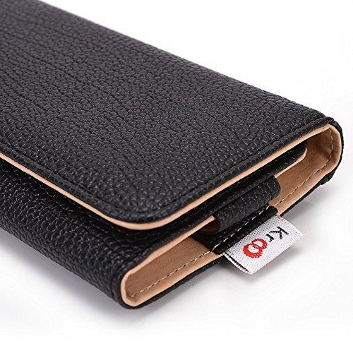Kroo Housse de transport Dragonne Étui portefeuille pour Prestigio MultiPhone 4505Duo/4500Duo/5450Duo Magenta and Black noir