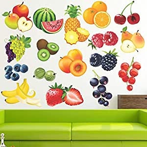 StickMe Learning Education Nursery Pre School Kinder Garden Colourful Fruits Wall Sticker (PVC Vinyl, 100 X 70 cm)