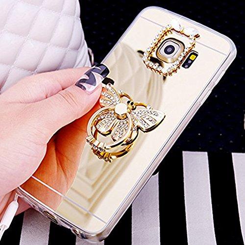 Custodia Cover per Samsung Galaxy A5 2017, Ukayfe Cover Specchio Lusso Placcatura Lucido di Cristallo di Scintillio Strass Diamante Glitter Caso per iPhone 7 Plus[Crystal TPU] [Shock-Absorption] Prote Farfalla di Diamante Oro 2#