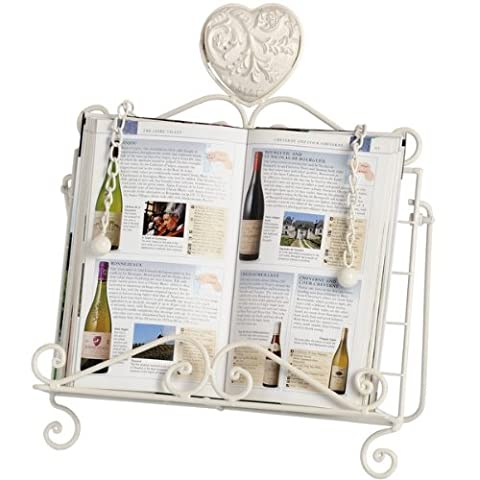 HEART - Metal Kitchen Cook Book Stand - Antique White by WATSONS