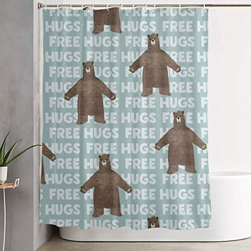 IconSymbol Decorative Easy Care Free Hugs Bear - Dusty Blue Colorful Bathroom Shower Curtain for Showers 60