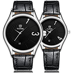 Valentine's Day Gifts, Hansee Lovers' Watches, Leather Band, 2 Pcs Ultrathin Waterproof Quartz Watch(Black)