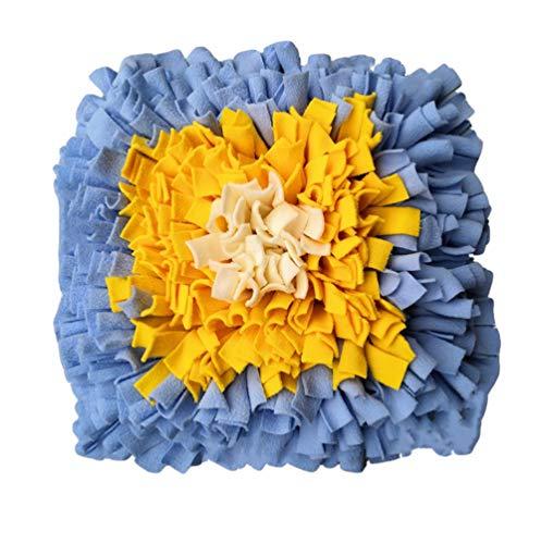 JEELINBORE Quadrat Schnüffelteppich Hund Schnüffelrasen Hundespielzeug Fördert Nahrungssuche Intelligenzspielzeug Hunde Schnüffeldecke (Blau Gelb, 45 * 45cm)