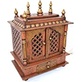 Jodhpur Handicrafts Wooden Temple for Home (Copper and Golden)