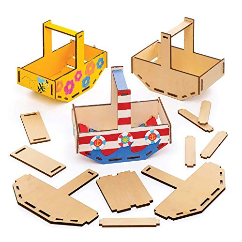 Baker Ross Bastelsets Körbe aus Holz (4er-Pack), für Kinder zum Dekorieren und Zusammenbauen