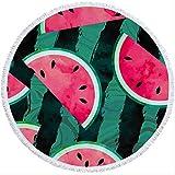 CXYJ Strandtuch Summer Watermelon Printing Beach Towel 150cm Round Outdoor Sport Yoga Blanket Beach Garden Picnic Blanket