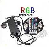 xinji RGB 5050IP65Wasserdicht 300LED flexible Tape Lichtleiste mit 44Taste IR Fernbedienung Controller 12V 6A Netzteil Adapter 5m 16.4ft