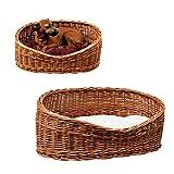 GalaDis 7-2-5 Hundekorb aus Weide mit Extra Dickem Weichem Hundekissen für Kleine Hunde, 57 cm