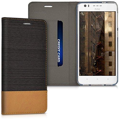 kwmobile HTC Desire 10 Lifestyle Hülle - Stoff Handy Cover Case mit Ständer - Schutzhülle für HTC Desire 10 Lifestyle