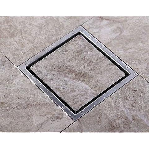 CAC 90mm de acero inoxidable 304 de salida grande de 15 x 15cm azulejo cuadrado insertar un desagüe en el