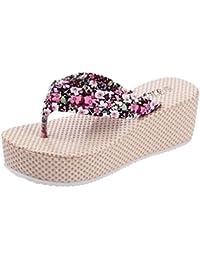 Minetom Mujer Verano Dulce Bohemia Floral Cuña Chancletas Plataforma Forrados Muffin Clip Dedo Del Pie Zapatillas Sandalias