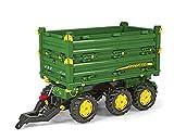 Rolly Toys 125043 rollyMulti Trailer John Deere | Anhänger in 3 Richtungen kippbar | Kippanhänger mit Gewindekurbe und Heckkupplung | ab 3 Jahren | Farbe grün/gelb | TÜV/GS geprüft