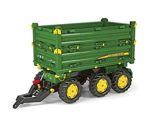 Rolly Toys Anhänger Rolly Toys 125043 rollyMulti Trailer John Deere | Anhänger in 3 Richtungen kippbar | Kippanhänger mit Gewindekurbe und Heckkupplung | ab 3 Jahren | Farbe grün/gelb | TÜV/GS geprüft