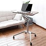 Schreibtische HAIZHEN Tragbare justierbare Laptop-Stand-Tabelle, rollender 4 Rädern beweglicher Laptop-Stand Klapptisch (Farbe : Brown)