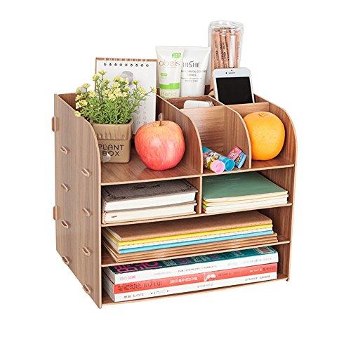 Organizer da scrivania in legno, con 4 scomparti, con cassetto, portadocumenti, porta riviste, multifunzione, per libri, giornali, riviste, penne, matite, fogli A4 rosso