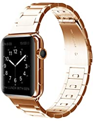 EloBeth For Apple Watch Armband Series 1 and Series 2, 42mm Classic Stainless Steel Replacement Link Bracelet Band with Double Button Folding Clasp Apple Watch Band for Apple Watch 42mm - RoseGold(Move links by Hand)