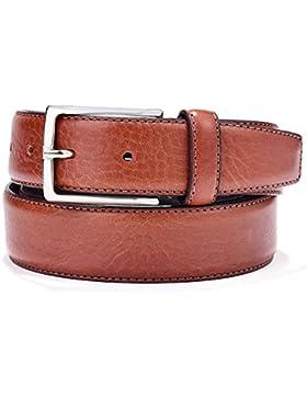 LUCHENGYI Cinturones Hombres en Marrón de Piel Italiana Genuina con Pespuntes y Hebilla Metálica 35mm