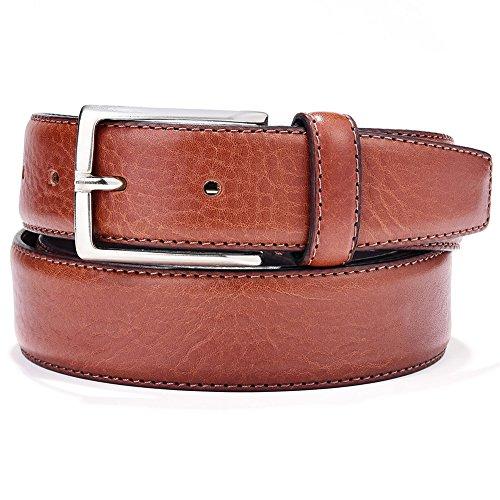 Mens Full Grain Italian Leather Dress Belt Brown 35mm