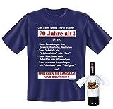 Goodman Design ® Geschenke Set GoodmanDesign Zum 70. Geburtstag Lustiges T-Shirt …Sprechen Sie Langsam und Deutlich und Happy Birthday Flaschenshirt Gr: XXL in Navy-Blau :