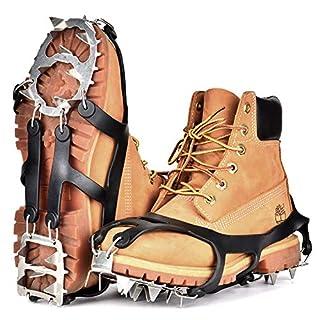 Queta Schuhspikes Schuhkrallen 18 Zähnen Steigeisen Silikon Schneeketten Steigeisen mit Edelstahlspikes für Ski EIS Schnee Wandern Klettern (M 36-40 (EU))