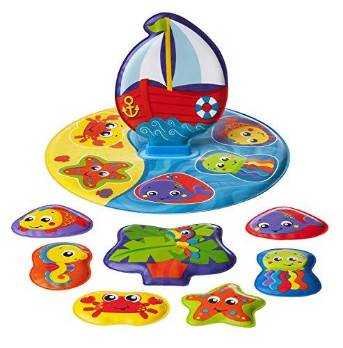 Playgro Badepuzzle, 9-teilig, Mit bunten Tiermotiven, Ab 6 Monaten, BPA-frei, Größe: 25 x 25 cm, Floaty Boat Bath Puzzle, Bunt, 40172