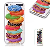 For iTouch 5/6 Case [with Free Screen Protector],Funyye Fashion lovely Lightweight Ultra Slim Anti Scratch Transparent Soft Gel Silicone TPU Bumper Protective Case Cover Shell for iTouch 5/6 - Donut