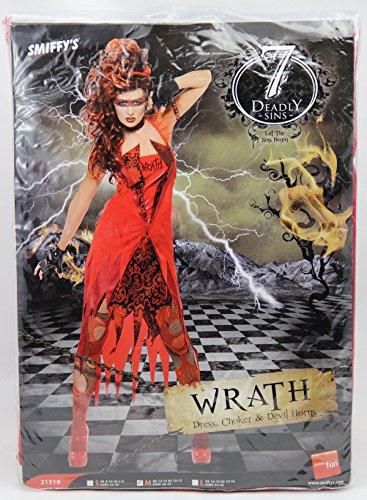 Original Lizenz Sieben Todsünden Zornkostüm Rot für Damen Zorn Kostüm Halloween Damenkostüm Halloweenkostüm Gr. 36/38 (S), 40/42 (M), (Todsünden Kostüm)