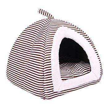 Pinji Niche Chat Chien Pliable Intérieur et Extérieur Portable Tente Maison Canapé Lit pour Animaux Domestiques Coussin Dehoussable Lavable Café M (36 * 36 * 42cm et Aminal est Moins de 4kg)