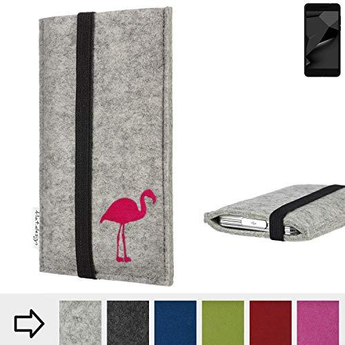flat.design Handy Hülle Coimbra für Blaupunkt SL Plus 02 Made in Germany Handytasche Filz Tasche Case fair Flamingo pink
