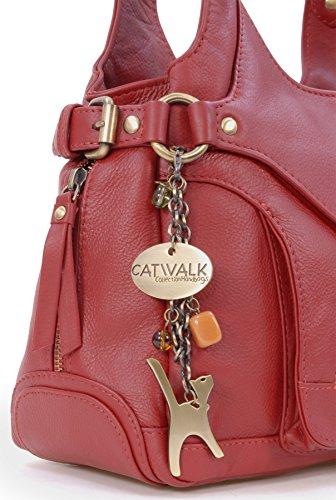 Borsa in pelle a spalla di Catwalk Collection Roxanna Rosso