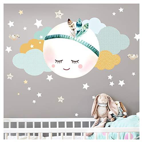 Little Deco Wandsticker Mond & Wolken I Mint/Grau L - 59 x 31 cm (BxH) I Kinderzimmer Wandtattoo Junge Baby Deko Zimmer DL246-2-L